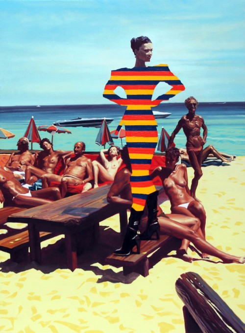 painting of nude sunbathers on a beach and a surreal model in a striped dress