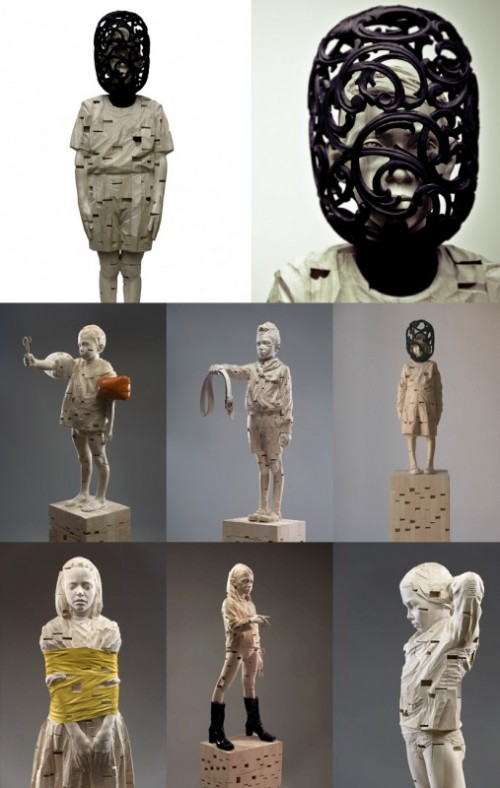 surreal sculptures of children
