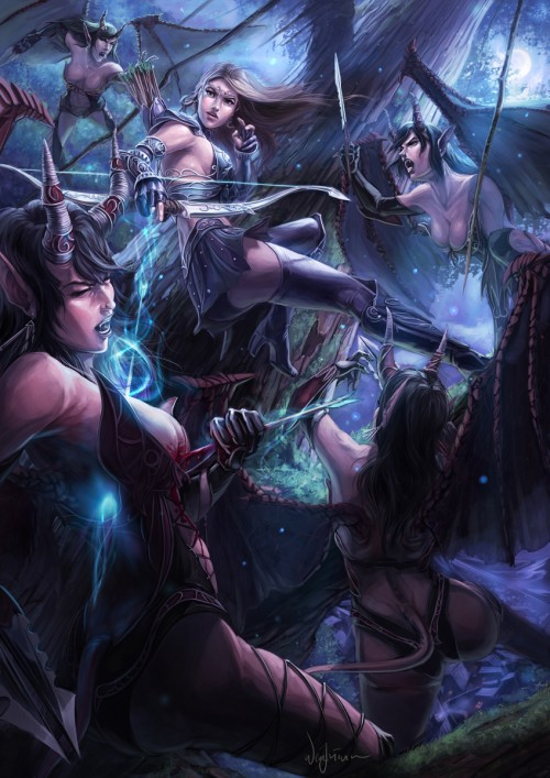 fantasy illustration of a warrior woman versus four horned attackers