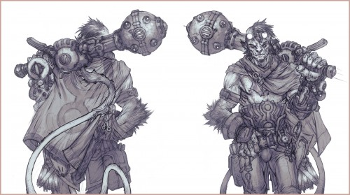 turnaround illustration of a monkey warrior with a mace