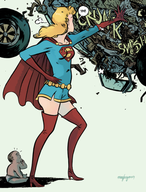 illustration of supergirl saving a baby from a car