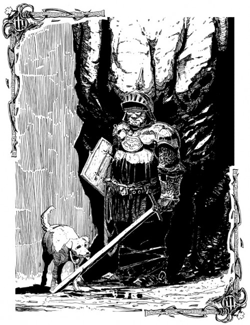 black & white pen drawing of a knight and a dog