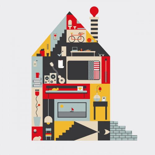 Vector cutout house graphic