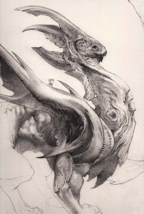 black & white drawing of a dragon