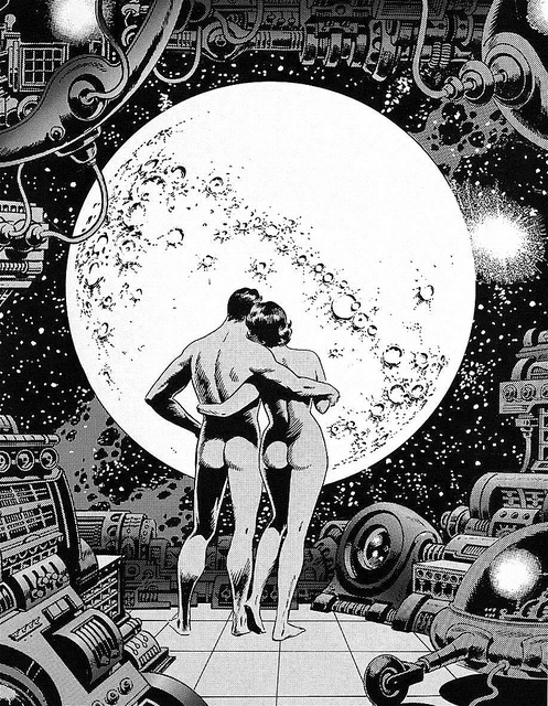 black & white illustration by wally wood of naked couple embracing on deck of space ship in front of moon