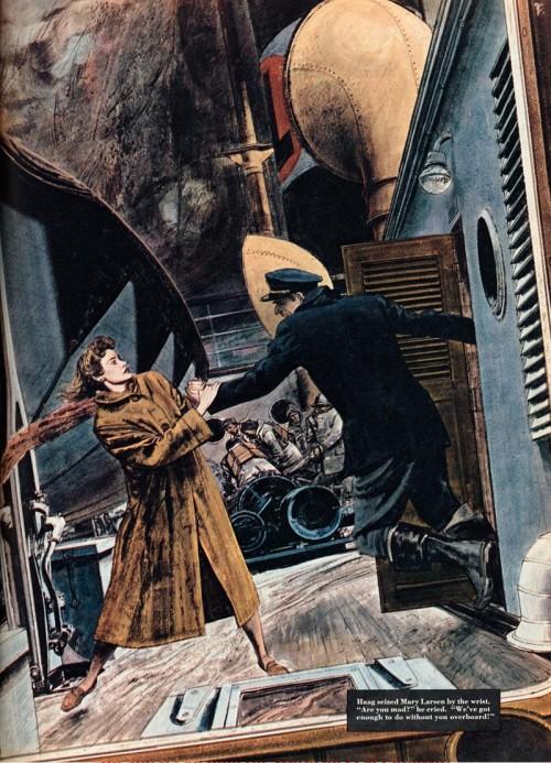 seaman accosting woman in fur coat
