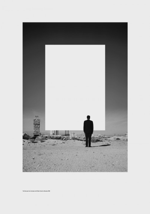 poster showing man looking at city from wasteland with white rectangle