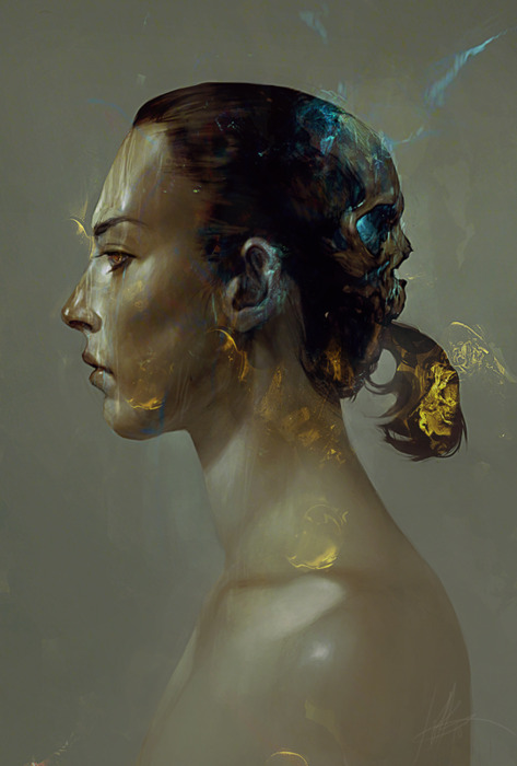 profile painting of woman with ponytail
