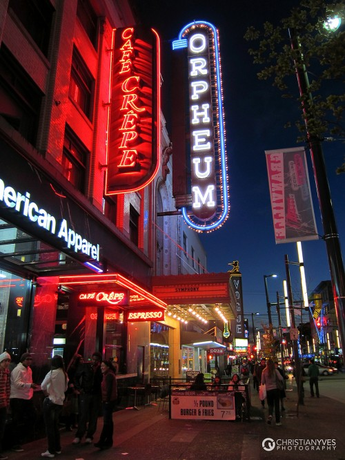 vancouver street scene with neon signage