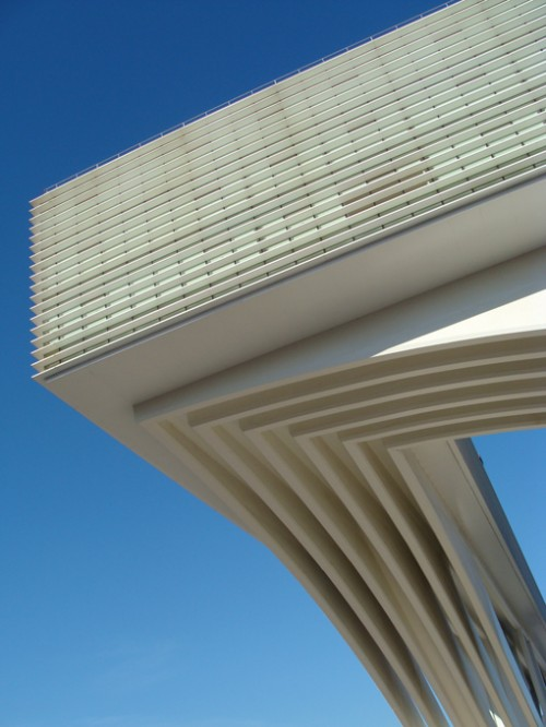 section of the palacio de congressos princesa letizia in oviedo spain by santiago calatrava