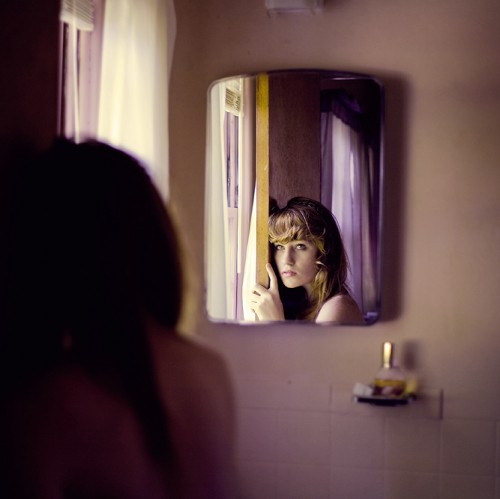 Self portrait in mirror