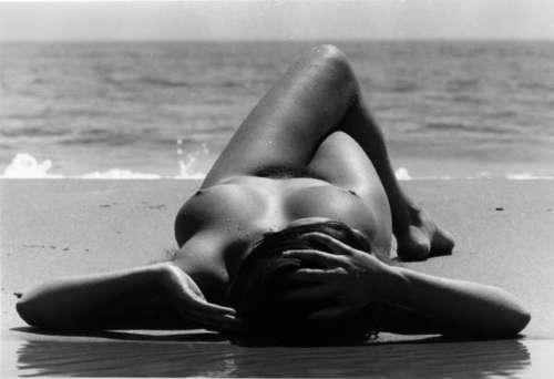 nude reclining on beach