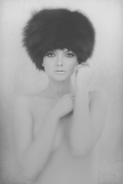 Fur hat Soviet beauty