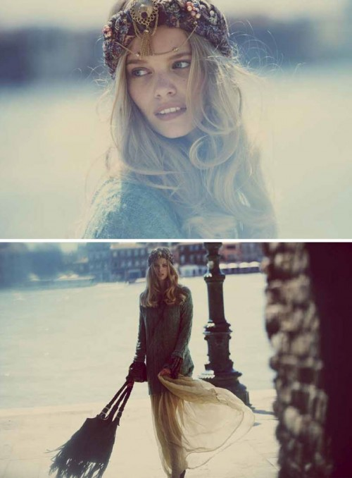diptych of marloes horst in venice wearing headband
