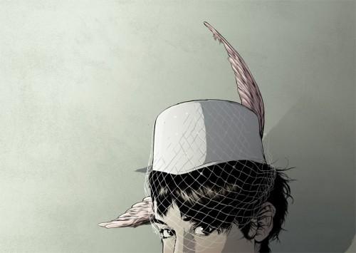 Bird-wing hat by Matthew Woodson