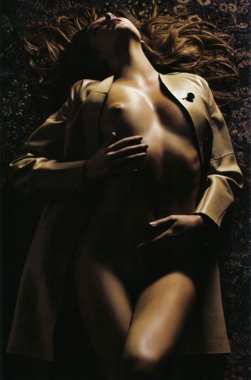 eniko mihalik nude in a tan trenchcoat by mario sorrenti