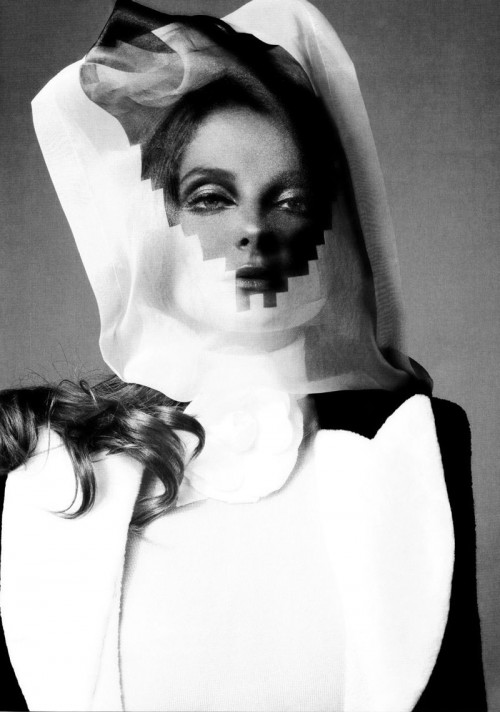 eniko mihalik with pixel pattern veil