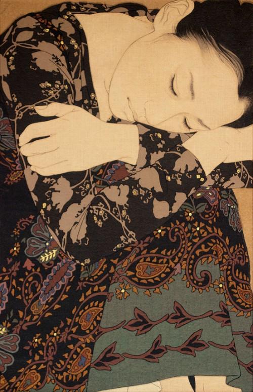 Japanese mineral pigment painting by Ikenaga Yasunari