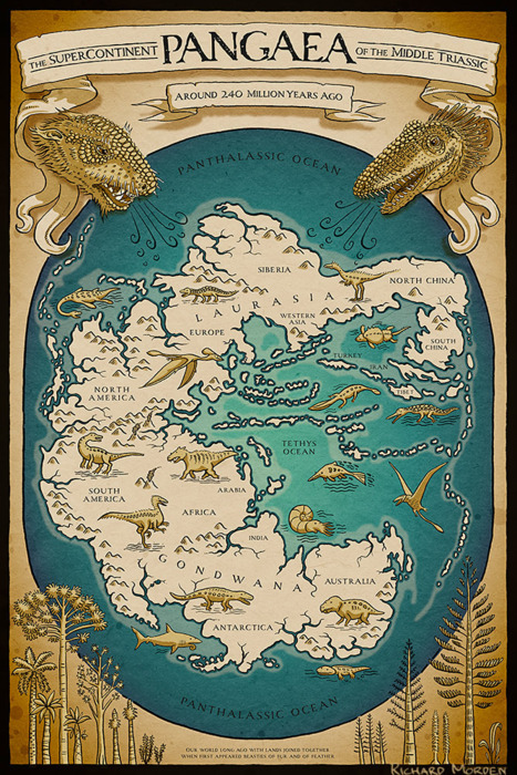 poster of the supercontinent pangaea by richard morden