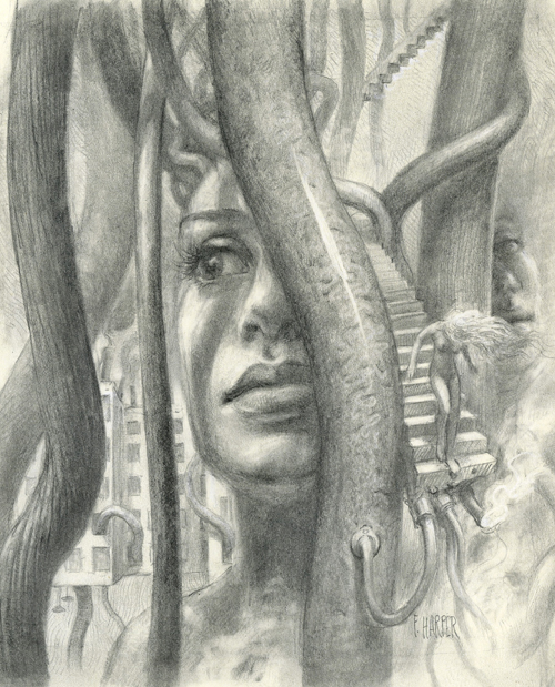 surreal pencil drawing featuring women, buildings, wires, staircase