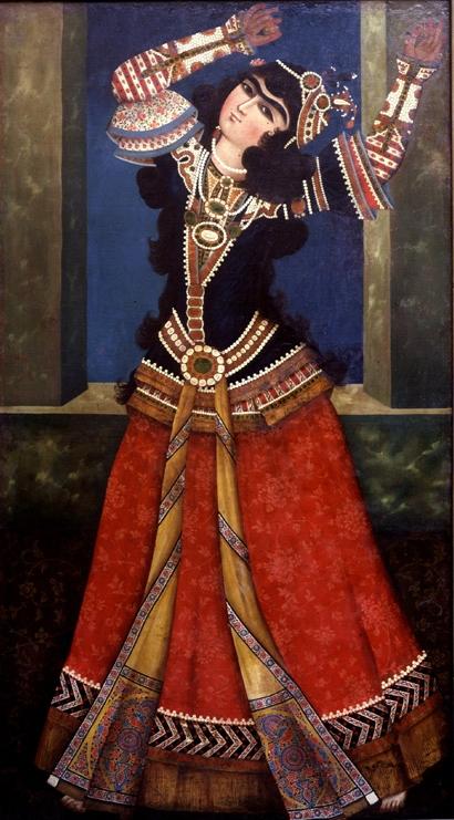 Persian Qajar Art - Painting of a dancing Princess