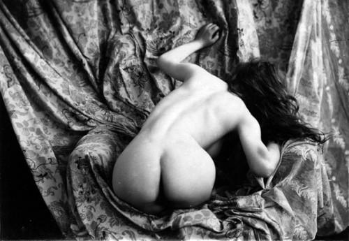 Nude crouching woman - vintage photograph
