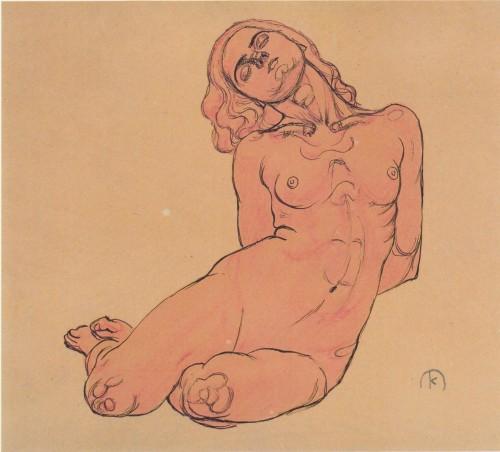 A crouching woman - Koloman Moser