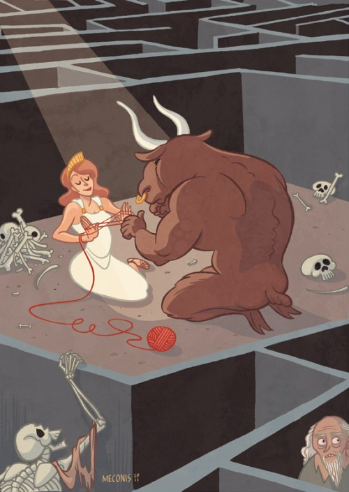 Ariadne and the Minotaur in the labyrinth