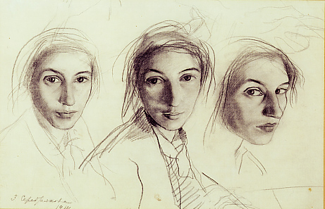 Pencil self-portraits - Zinaida Evgenievna Serebriakova