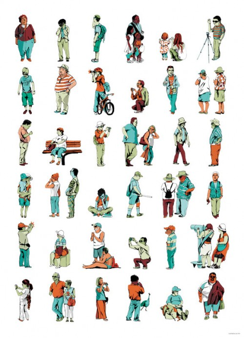 paintings of tourists by jim field
