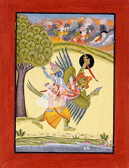Garuda, Vishnu and Laxmi - Indian miniature painting