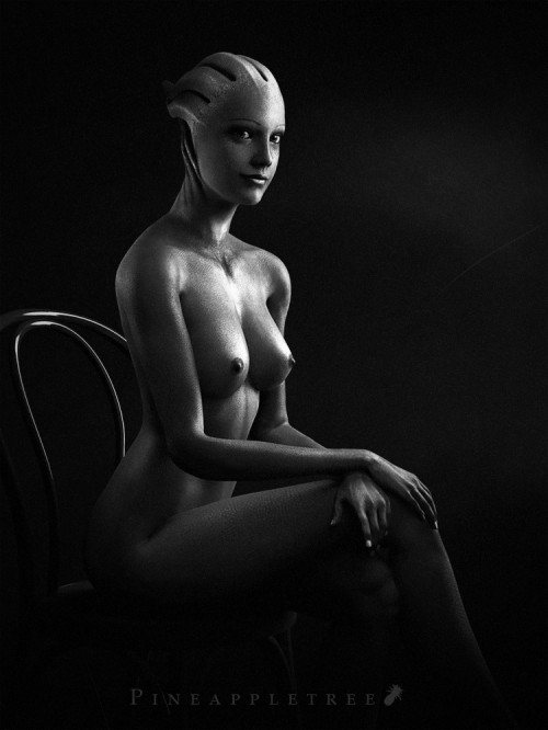 A Photographer on the Citadel - Liara + Chair by ~pineappletree on deviantART