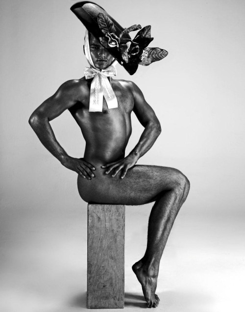 Nude Men in Couture Hats by Giuliano Bekor
