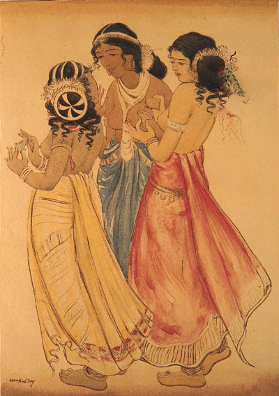 Dancing girls of Ajanta - cave painting